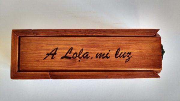 Plumier personalizado sapeli madera reciclada palet