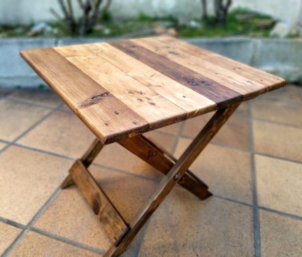 mesita plegable de madera reciclada de palet