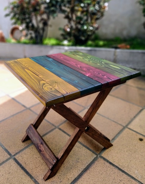 mesita plegable colores de madera reciclada de palet